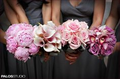Monobotanic Bouquets    I love this idea! Same color hues for the bridesmaids but different flowers!