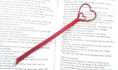 Red Heart Bookmark Metal Bookmark Unique by DragonflyHJewellery