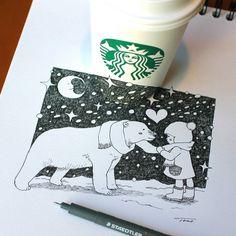 polar bear with child by tokomo-shintani Copo Starbucks, 3d Sketch, Illustrations, Coffee Art, Magazine Art, Polar Bear, Graffiti, Fine Art, Drawings