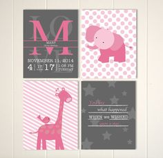 Elephant nursery art, baby girl nursery, giraffe art print, baby name art, baby room wall art, baby birth statistics, pink grey, set of 4 by PicabooArtStudio