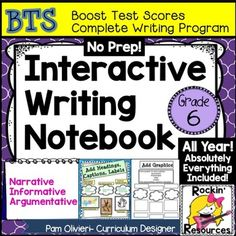 Interactive Writing Notebook for Grade 6This has been a BEST SELLER ON TPT! Added to this bundle is the complete paragraph writing bundle (in addition to the skills listed below) for grades 3-5 in case you need it! (Subject, predicate, complete sentences, run-ons, fragments, etc.)BTS (BOOST TEST SCORES) WRITING PROGRAM- an all-inclusive step-by-step writing program that has been proven to be 98% effective with exemplary scores!