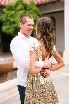 Sweet engagement session at Miromar Lakes in Estero, Florida with gold sequin dress.   Photo: Hunter Ryan Photo