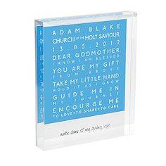 Personalised Godparent Acrylic Block by a.musing, the perfect gift for Explore more unique gifts in our curated marketplace. Godparent Gifts, Personalized Gifts, Godparent Ideas, Emotional Messages, Baby Christening, Kid Names, Event Venues, Party Time, Unique Gifts