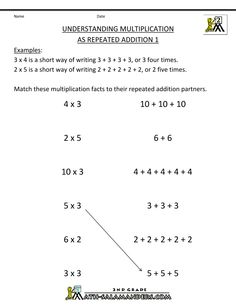 how to teach multiplication addition using repeated addition Multiplication Worksheets, 2nd Grade Worksheets, Array Multiplication, Repeated Addition Multiplication, Free Worksheets, Math Strategies, Math Resources, Multiplication Strategies, Math For Kids