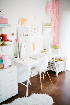 all white desk space #home office
