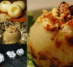 Bacon Blue Grilled Onions  Try also cream cheese and chives in place of Bleu Cheese  Or replace Bleu Cheese with Feta