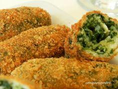 Receta Aperitivo : Croquetas de espinacas <600 g de hojas frescas de espinacas - 1 cebolla mediana picada - 2 cucharadas de mantequilla - 3 huevos - 1/2 cucharadita de sal - 1 taza de pan rallado del día anterior y puede que algo más - 1 taza de pan rallado para rebozar - 100 g de feta desmenuzado - aceite de oliva suave para freír Read more at http://www.petitchef.es/recetas/aperitivo/croquetas-de-espinacas-deliciosas-fid-1386308#xZo8VAoeCc5MiqLy.99 Jantonio