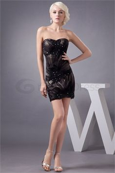 sheath/ Column Beading Short/ Mini Sweetheart Cocktail Party Dress