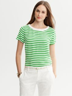 BANANA REPUBLIC - Embellished Stripe Tee