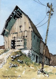 Little x inch watercolour Landscape Paintings, Pen And Watercolor, Watercolor Architecture, Watercolor Paintin, Watercolor Landscape Paintings, Landscape Art, Landscape Drawings, Barn Painting, Building Art