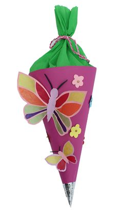 Schultüte basteln für Mädchen mit schmetterling