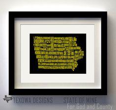 Iowa County Map  Iowa Hawkeyes
