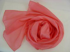 Seidenschal 180x45cm flamingo lachs Pongee Schal  von Textilkreativhof auf DaWanda.com