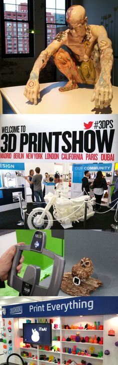 What can you make in a 3D printer? How about a motorcycle? The 3D Printshow in New York showcases cool devices and 3D-printed gems like Jeri the resting fighter by James Stewart and the translucent motorcycle by Jonathan Brand. Fuel 3D's Scanify handheld scanner uses stereo lenses and three flash guns—which fire separately within a tenth of a second—to capture 3D images. The show, at Center 548 at 548 W. 22nd St., opens to the trade April 16 and 17 and to the public April 18 and 19. #3DPS