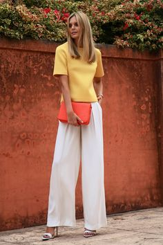 Week before MemDayWknd- white pant outfit ideas...go- (Josh Goot top, Asos pants/clutch)