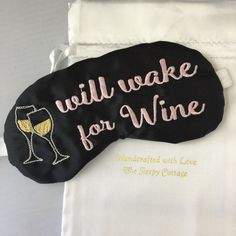 Will Wake For Wine Sleep Mask Pink and Black by TheSleepyCottage