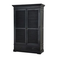 luxury designer black cabinet from Eichholtz with stylish louvre design and low level drawers. Bedroom Furniture Design, Door Furniture, Black Furniture, French Furniture, Classic Furniture, Furniture Storage, Shoe Storage Cabinet, Storage Drawers, Storage Cabinets