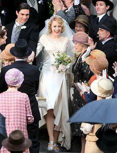 Blake Lively films The Age of Adaline wearing a '50s inspired wedding dress while filming on Mar. 17