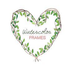 Frames Digital Clip Art Watercolor Heart Leaves by BarbaraClipArt, $5.00