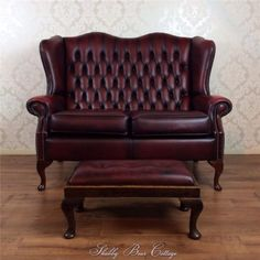 Chesterfield Oxblood Leather Sofa Antique 2 seater Queen Anne Vintage + Stool   eBay