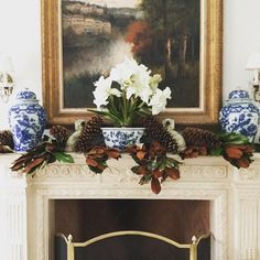 Blue & White on a mantle is a sure thing….every season - Building a Blue & White Collection  - The Enchanted Home