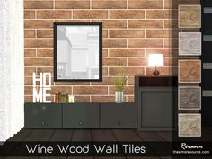 Wine Wood Wall Tiles by Rirann at TSR via Sims 4 Updates