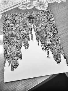 This is photo of a silhouette of the Disney castle surrounded round beautiful zentangle detail! The print will be on 8x10 quality paper! #Zentangle