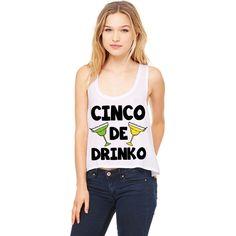 White Crop Top Cinco De Drinko Funny Shirt Cinco De Mayo