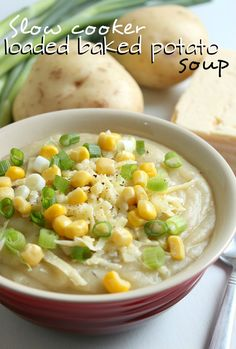 Slow cooker loaded baked potato soup - I can't use the cheese and I'd use Smart Balance instead of butter, but it sounds yummy and I'm gonna try it! Crumbled bacon and chives and organic corn on top.... yum!