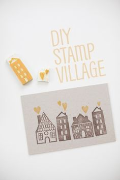 "DIY Stamp Village from fellowfellow. Maybe a ""We're Moving"" postcard for friends & family"