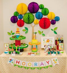 Modern Rainbow Safari 1st Birthday – Part 2 {Dessert Table} // Hostess with the Mostess®