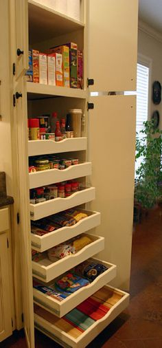 Pull-out pantry shelves.