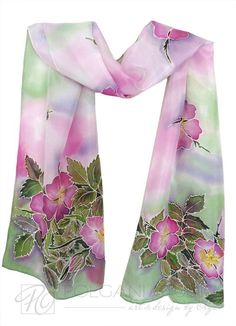 Hand Painted Silk Scarf Wild Rose Floral Spring by PolganiStudio looks delicate and expensive. This could be because of the material silk used. Hand Painted Dress, Painted Silk, Fabric Painting, Fabric Art, Silk Art, Scarf Design, Silk Scarves, Floral Design, Wearable Art
