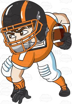 A football halfback carrying the ball in play #cartoon #clipart #vector #vectortoons #stockimage #stockart #art