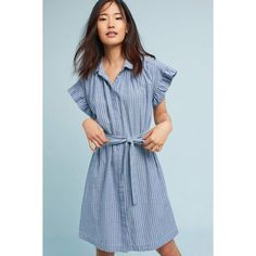 Isabella Sinclair Piper Flutter-Sleeve Shirtdress ($148) ❤ liked on Polyvore featuring dresses, navy, navy dress, long shirt dress, flutter-sleeve dress, navy blue shirt dress and isabella sinclair dress