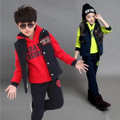 2015 new winter suits for girls and boys children sweater plus thick velvet three-piece clothes big boy Casual fashion tracksuit
