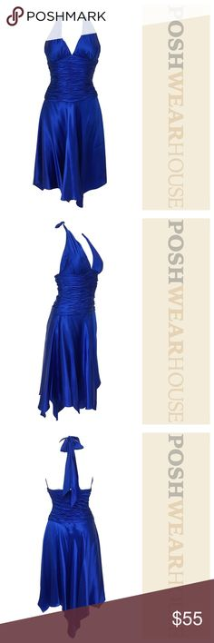 Electric Royal Blue Halter Tie Handkerchief Dress Like New Condition! • Simply STUNNING on almost any skin tone!!! • Lightly Padded Bust (for those interested in going brakes • Side inseam zipper • Ruching at the waist • Handkerchief hemline • 100% Silk Cache Dresses Midi