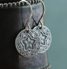 Mandala Star Earrings Recycled Sterling Silver Handmade      Lovely little earrings with fine detail of a 5 pointed star. Ive made these mandala
