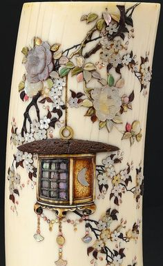 Ivory Shibayama Vase (detail), Meiji Period, 19th Century, inlaid and overlaid with various stones, mounted on a wood base