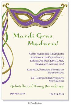 Masked Ball Masquerade Mardi Gras Chevron Invitation Printable or Printed with FREE SHIPPING Mardi Gras Soiree Carnival Fun