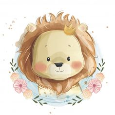 Cute Baby Lion Wearing Crown Stock Vector - Illustration of birthday, newborn: 156566890 Baby Animal Drawings, Cute Drawings, Vogel Illustration, Baby Animals, Cute Animals, Safari Animals, Art Mignon, Cute Lion, Belly Painting