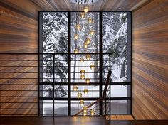 Stairwell Lighting Staircase Modern with Banister Cabin Chandelier Glass Wall Handrail Metal