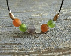 Orange Green Glass Necklace multi recycled by bluegreenjewels, $25.00