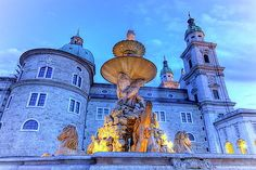 Fountain And Cathedral At The Residenzplatz In Salzburg, Austria by Elenarts - Elena Duvernay photo Salzburg Austria, Austria Travel, Famous Places, Barcelona Cathedral, Travel Photos, Fine Art America, Fountain, Artwork, Poster