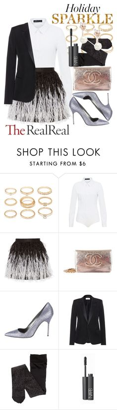 """""""Holiday Sparkle With The RealReal: Contest Entry"""" by thatssojill ❤ liked on Polyvore featuring Forever 21, Hallhuber, Alice + Olivia, Chanel, Manolo Blahnik, Yves Saint Laurent, NARS Cosmetics and Kate Spade"""