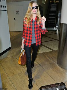 Casual Red Plaid Flannel Grey The Shirt Jeans Black Boots