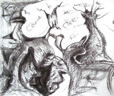 """""""Man-Tree"""" charcoal on paper 2006 by D.G.Gotart"""