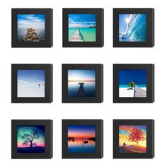 9PCs 4x4 Square Picture Frames Black Wood Instagram Photo Image fit Window 3.6 x 3.6 Wall Decoration