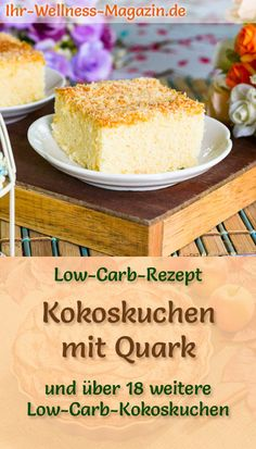 carb coconut cake with cottage cheese - simple recipe without sugar- Low-Carb-Kokoskuchen mit Quark – einfaches Rezept ohne Zucker Simple, fast coconut cake with quark: … - Low Carb Desserts, Low Carb Recipes, Baking Recipes, Vegan Pumpkin, Pumpkin Recipes, Law Carb, Ramadan Recipes, Low Carb Keto, Smoothie Recipes