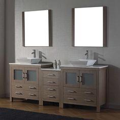 Virtu Dior 82 in. Double Bathroom Vanity Set - Vanity + 2 Mirrors - KD-70082-WM-ES-001